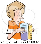Clipart Of A Woman Measuring A Container That Is Half Full Or Half Empty Royalty Free Vector Illustration