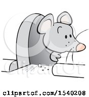 Clipart Of A Gray Mouse Peeking Out Of A Hole In The Wall Royalty Free Vector Illustration by Johnny Sajem
