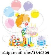 Cute Clown Holding A Cake At A Birthday Party