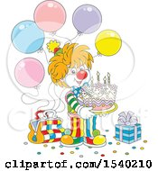 Clipart Of A Cute Clown Holding A Birthday Cake At A Party Royalty Free Vector Illustration by Alex Bannykh