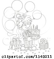 Lineart Clown Holding A Birthday Cake At A Party