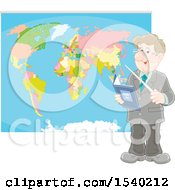 Poster, Art Print Of White Male Geography Teacher Pointing To A Map