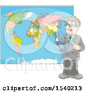 Clipart Of A Caucasian Male Geography Teacher Pointing To A Map Royalty Free Vector Illustration