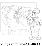 Poster, Art Print Of Lineart Male Geography Teacher Pointing To A Map