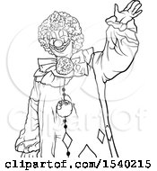 Clipart Of A Black And White Clown Royalty Free Vector Illustration