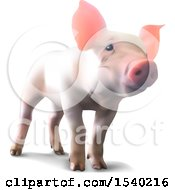 Clipart Of A 3d Piglet On A White Background Royalty Free Vector Illustration