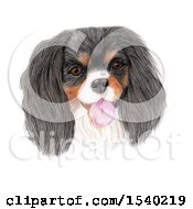 Clipart Of A Pencile Art Portrait Of A Happy Dog On A White Background Royalty Free Illustration