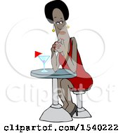 Clipart Of A Black Woman Waiting On Her Date Royalty Free Vector Illustration