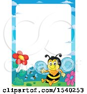 Clipart Of A Border With A Honey Bee Royalty Free Vector Illustration