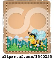 Clipart Of A Parchment Border With A Honey Bee Royalty Free Vector Illustration