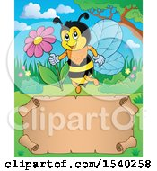 Clipart Of A Parchment Scroll And Honey Bee Royalty Free Vector Illustration