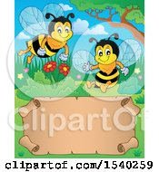 Clipart Of A Parchment Scroll And Honey Bees Royalty Free Vector Illustration