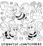 Black And White Honey Bees