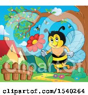 Clipart Of A Honey Bee Holding A Daisy Flower Royalty Free Vector Illustration