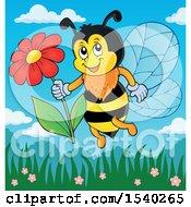 Poster, Art Print Of Honey Bee Holding A Daisy Flower