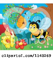 Clipart Of A Honey Bee Near A Hive In A Yard Royalty Free Vector Illustration