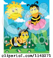 Clipart Of Honey Bees Royalty Free Vector Illustration