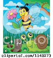 Clipart Of A Honey Bee Snail And Worm Royalty Free Vector Illustration
