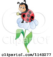 Clipart Of A Ladybug On A Daisy Flower Royalty Free Vector Illustration by visekart