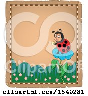 Poster, Art Print Of Parchment Border Of A Ladybug On A Flower