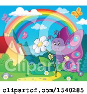 Butterfly Holding A Flower