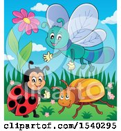 Clipart Of A Ladybug Beetle And Dragonfly Royalty Free Vector Illustration by visekart