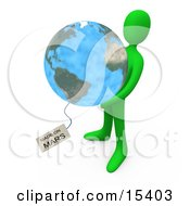 Green Person Holding The Planet Earth With A Tag Reading Made On Mars