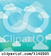 Clipart Of A Background Of Clouds In A Sunny Sky Royalty Free Vector Illustration