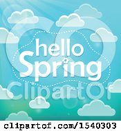 Clipart Of A Hellow Spring Greeting In A Sky With Clouds Royalty Free Vector Illustration