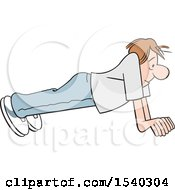Clipart Of A Cartoon Man Doing Push Ups Royalty Free Vector Illustration