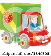 Clipart Of A White Man Driving A Strawberry Produce Truck Royalty Free Vector Illustration
