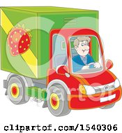 Clipart Of A Caucasian Man Driving A Strawberry Produce Truck Royalty Free Vector Illustration