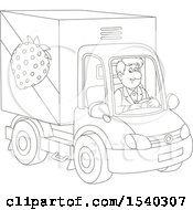 Clipart Of A Lineart Man Driving A Strawberry Produce Truck Royalty Free Vector Illustration