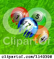 Clipart Of Lottery Or Bingo Balls One Looking Like A Soccer Ball In Grass Royalty Free Vector Illustration