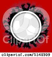 Clipart Of A Soccer Ball Frame With Silhouetted Hands Over Halftone On Red Royalty Free Vector Illustration