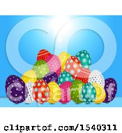 Clipart Of A 3d Pile Of Easter Eggs Over Blue Royalty Free Vector Illustration