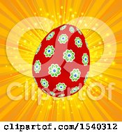 Clipart Of A Floral Easter Egg Over A Burst Royalty Free Vector Illustration