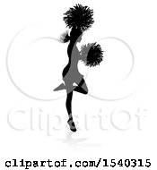 Clipart Of A Silhouetted Cheerleader Jumping With A Reflection Or Shadow Royalty Free Vector Illustration by AtStockIllustration