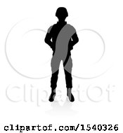 Clipart Of A Silhouetted Male Soldier With A Reflection Or Shadow On A White Background Royalty Free Vector Illustration
