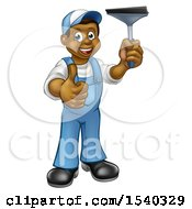Full Length Black Male Window Cleaner In Blue Giving A Thumb Up And Holding A Squeegee