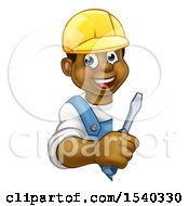 Poster, Art Print Of Cartoon Happy Black Male Electrician Holding A Screwdriver Around A Sign