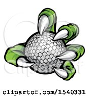 Clipart Of A Green Monster Claw Holding A Golf Ball Royalty Free Vector Illustration