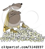 Clipart Of A Super Hero Dog Standing On A Pile Of Bones Royalty Free Vector Illustration