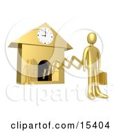 Gold Businesman In A Suit Holding A Briefcase And Sticking Out From An Arm Of A Cuckoo Clock Upon The Hour Of 9am Symbolising The Start Of A New Work Day Or Punctuality Clipart Illustration Image by 3poD