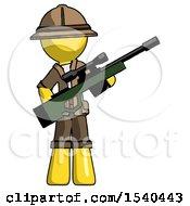 Yellow Explorer Ranger Man Holding Sniper Rifle Gun