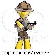 Yellow Explorer Ranger Man Tommy Gun Gangster Shooting Pose
