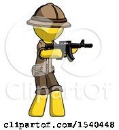 Yellow Explorer Ranger Man Shooting Automatic Assault Weapon