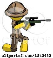 Yellow Explorer Ranger Man Kneeling Shooting Sniper Rifle