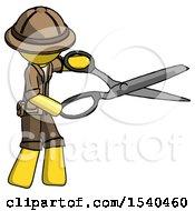 Yellow Explorer Ranger Man Holding Giant Scissors Cutting Out Something
