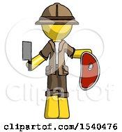 Yellow Explorer Ranger Man Holding Large Steak With Butcher Knife
